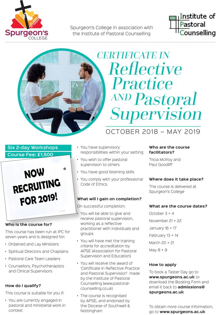 Certificate In Reflective Practice And Pastoral Supervision London